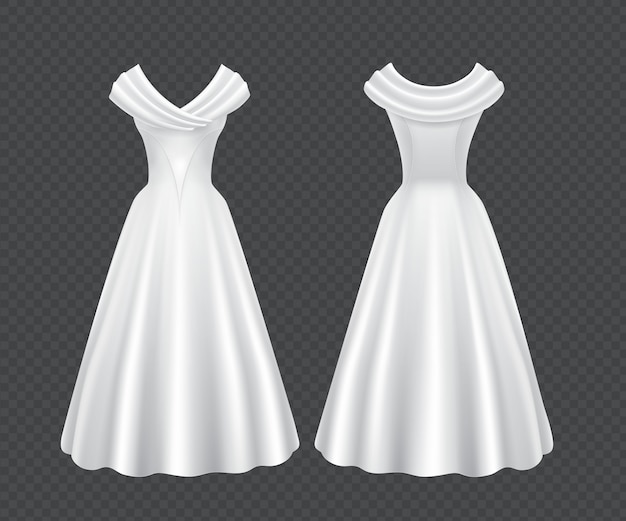 ロングスカートと白いウェディング女性ドレス