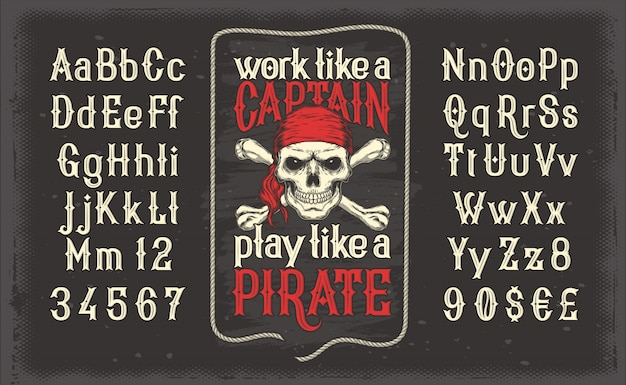 Векторный белый шрифт, латинский алфавит с ретро-пиратской печатью с черепом и скрещенными костями