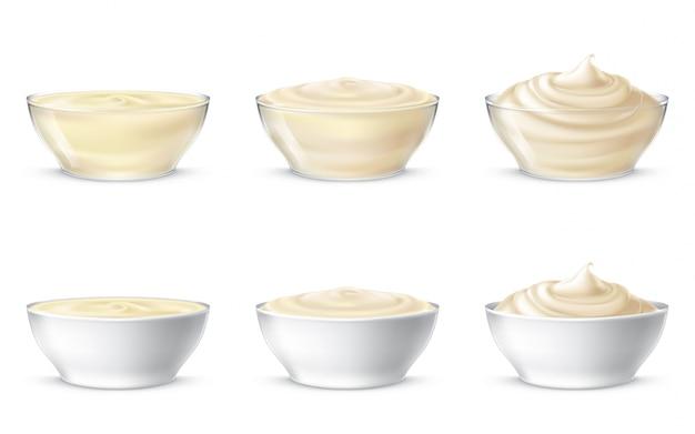 Векторные иллюстрации майонеза, сметаны, соуса, сладких сливок, йогурта, косметического крема