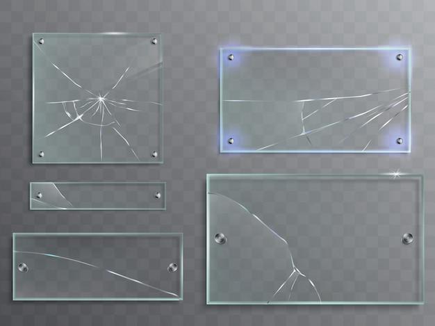 透明なガラス板の亀裂、割れたパネルのベクトル図のセット