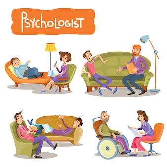 患者が心理療法士と話しているベクトル漫画のイラストのセット、