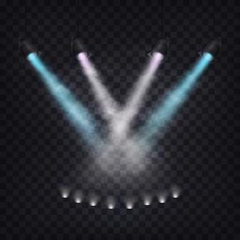 Набор векторных сценических прожекторов в тумане