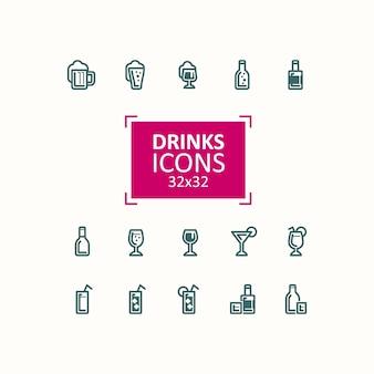 飲み物のアイコンのベクトルイラストのセット。