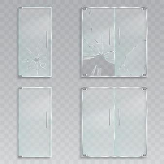 Векторные реалистичные иллюстрации макета входных стеклянных дверей с металлическими ручками невредимыми и разбитыми стеклами