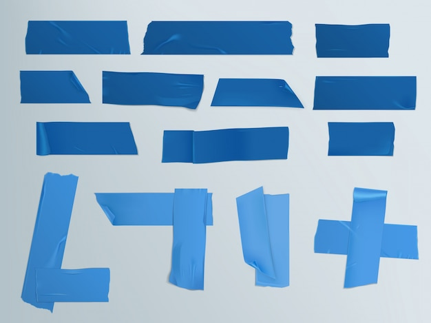 シャドウとしわのある粘着テープの異なるスライスのベクトル図セット