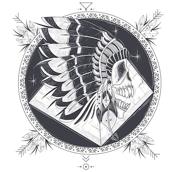インドの羽の帽子に人間の頭蓋骨と入れ墨のためのテンプレートのベクトル図。