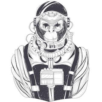 Вектор рисованной иллюстрации космонавта обезьяны, шимпанзе в космическом костюме