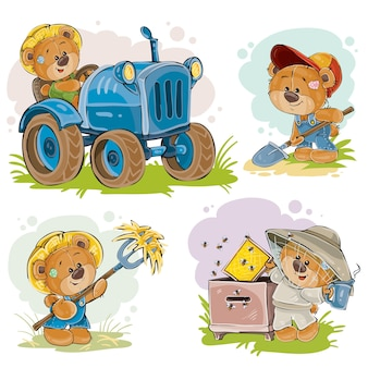 Набор векторных иллюстраций плюшевого медведя тракториста, пчеловода, фермера.