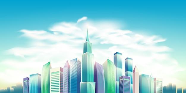 ベクトル漫画のイラスト、バナー、近代的な大きな都市の建物と都市の背景