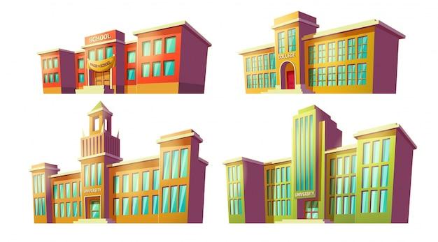 Набор векторных иллюстраций мультфильмов различных старых, ретро образовательных учреждений, школ.