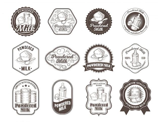 Набор векторных иллюстраций значков сухого молока.
