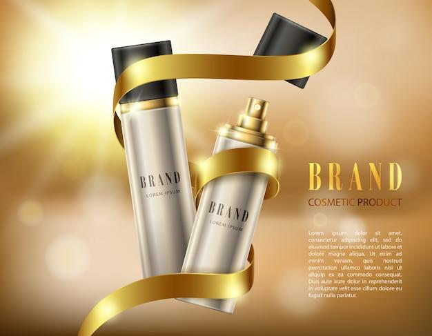 Серебряные распылительные бутылки в реалистичном стиле на фоне золотой ленты и эффекта боке