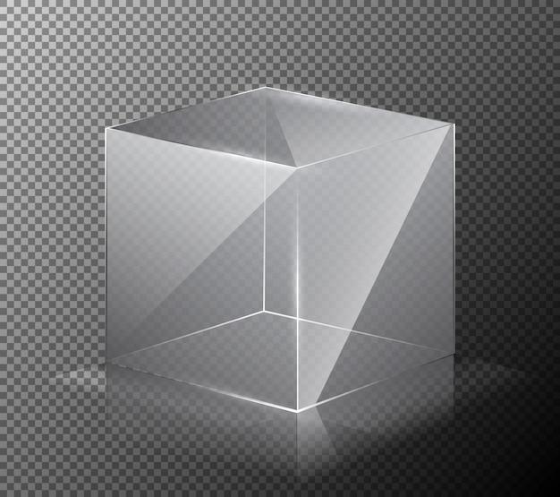灰色の背景には、現実的、透明、ガラスキューブのベクトル図があります。