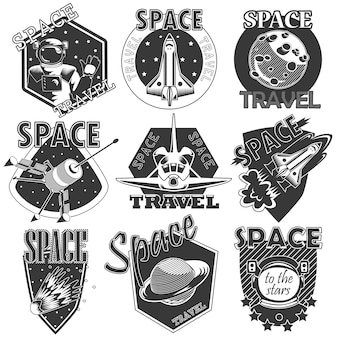 Набор векторных иконок пространства.