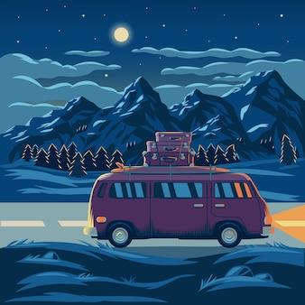 Векторная иллюстрация горного пейзажа