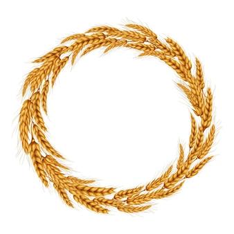 Векторная иллюстрация венок из колосков пшеницы.
