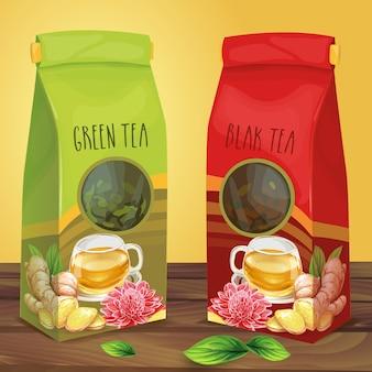 お茶の手描きのベクトルのための明るい紙の包装