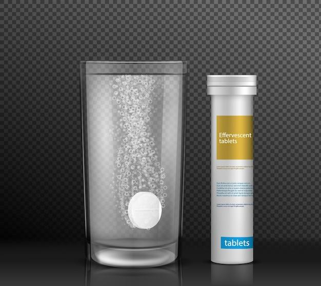 可溶性の薬パックは、現実的なベクトルモックアップ