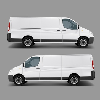 Белый векторный шаблон для коммерческого грузового микроавтобуса