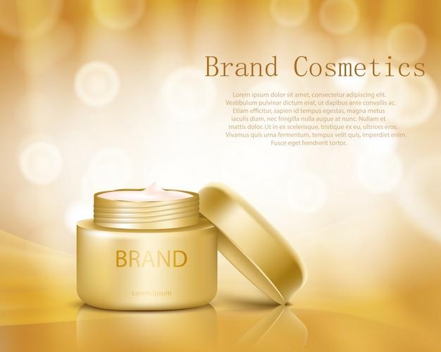 化粧品容器の現実的なスタイルのベクトル図