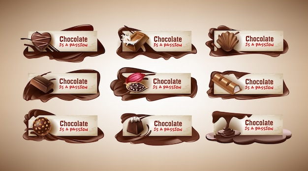 ベクトルイラスト、チョコレート菓子付きのバナー、チョコレートバー、カカオ豆、チョコレートを溶かしたもの