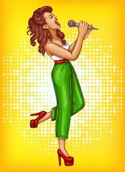 マイクポップアートで歌う若い女性