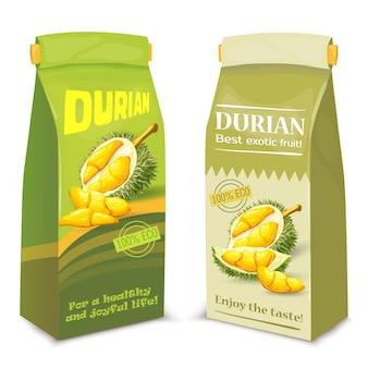 エキゾチックなドリアンの果物からのジュースの包装、