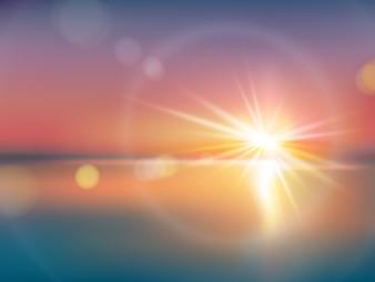 明るい太陽のある自然な背景、レンズのフレア