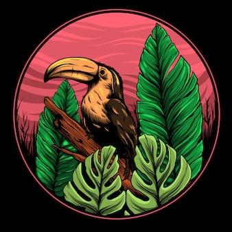 Иллюстрация птицы-носорог
