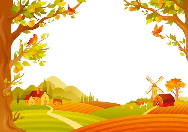 Красивый осенний пейзаж. осень сельской местности с сараем, мельницей, яблонями. векторная иллюстрация