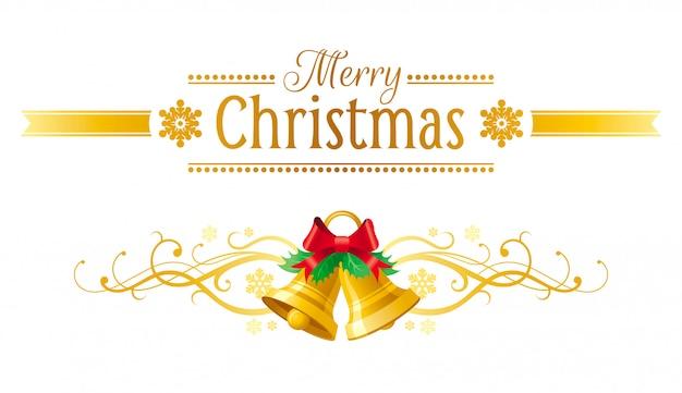 メリークリスマスのグリーティングカード。ジングルの鐘と休日のバナー。