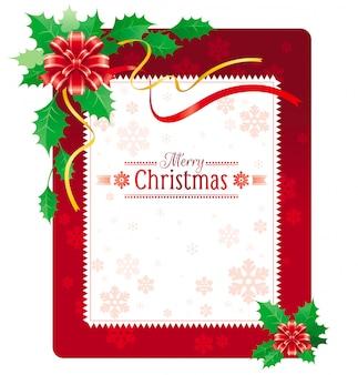 Веселая рождественская открытка. праздник баннер с бантом, листья падуба.