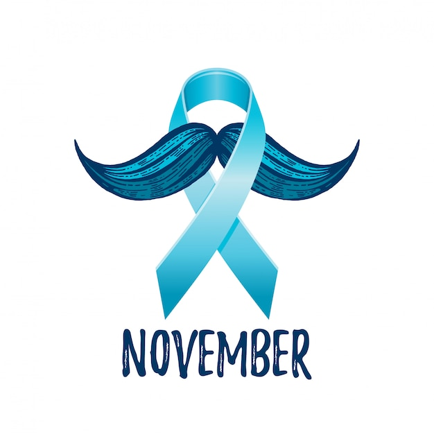 Рак простаты осведомленности ленты с усами. символ здоровья мужчин.