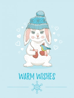 メリークリスマスカード。クリスマス新年のかわいい動物ポスター。漫画のバニーペット。手で書いた