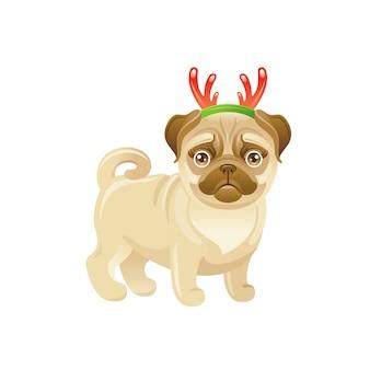 クリスマスの鹿の角の装飾とかわいい犬。漫画パグ子犬。メリークリスマスのグリーティングカード。