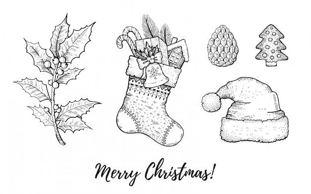 クリスマス手描き落書きセット。刻まれたメリークリスマスレトロなスケッチスタイル。