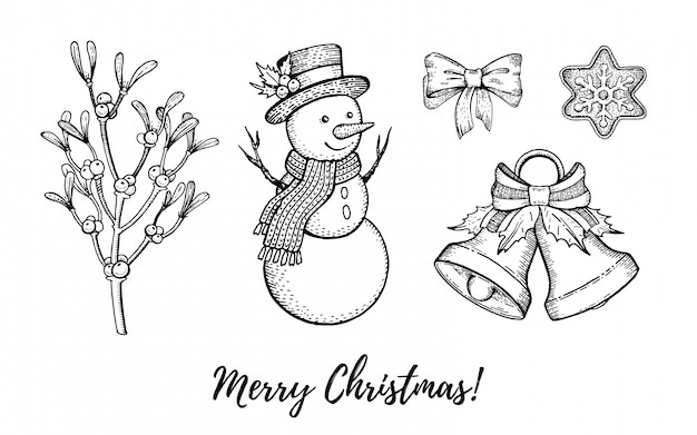 クリスマス手描き落書きアイコンセット。メリークリスマス、新年あけましておめでとうございます、レトロなスケッチスタイルが刻まれました。