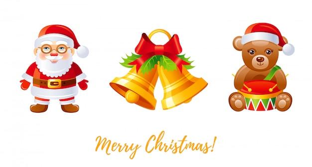 クリスマスのアイコンを設定します。漫画のサンタクロース、ジングルの鐘、テディベアグッズ。