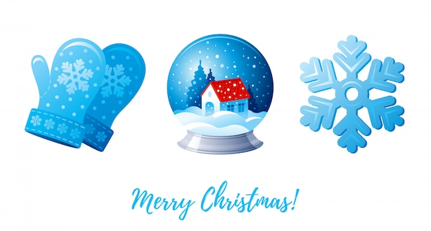 Рождественский набор иконок. мультфильм вязаные варежки, снежный ком, снежинка.