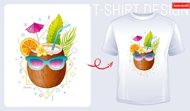 Кокос с солнцезащитные очки футболки с принтом дизайн. иллюстрация моды женщина в стиле каракули эскиз.