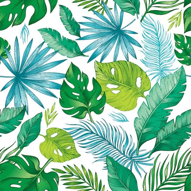 Бесшовный узор из тропических пальмовых листьев.