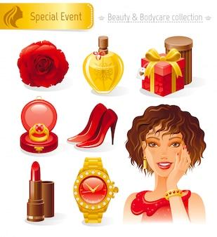 美容と化粧品のセット。赤の美しいグラマーガールと休日のロマンチックなコレクション。