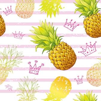 Акварельный ананас бесшовный фон
