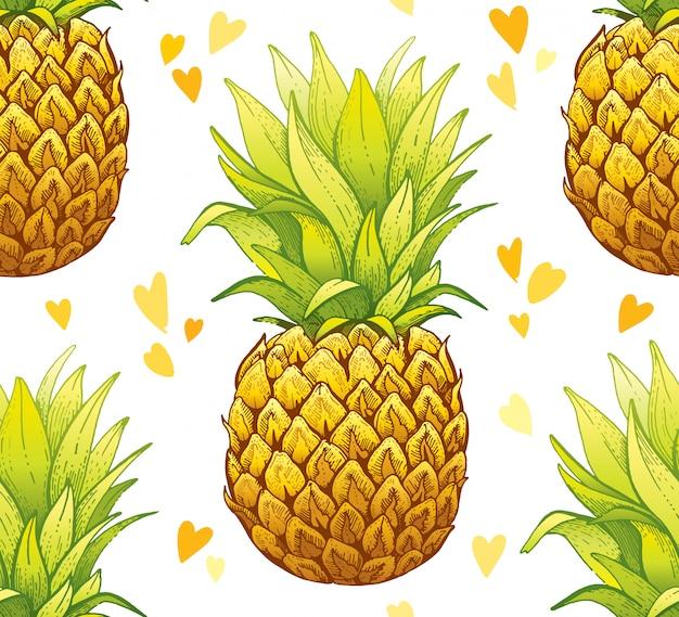 Эскиз акварель ананас бесшовные модели.