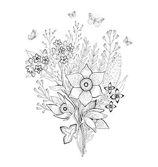 春の花の花束のスケッチ。