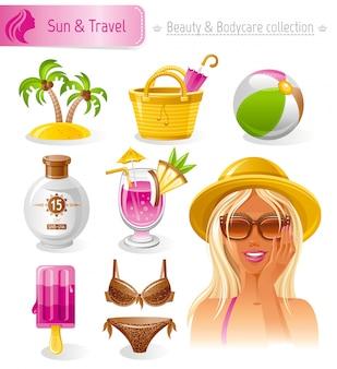 美容と化粧品のセット。麦わら帽子の美しいブロンド日焼け少女と夏のコレクション。