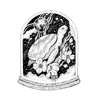 Морская черепаха животное, сюрреалистический дизайн.