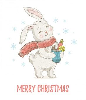 スカーフでかわいいクリスマスウサギ。メリークリスマスと新年漫画水彩ベクトルイラスト。