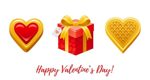 幸せなバレンタインデーのバナー。漫画かわいいハートビスケット、ギフトボックス、ウェーハ。