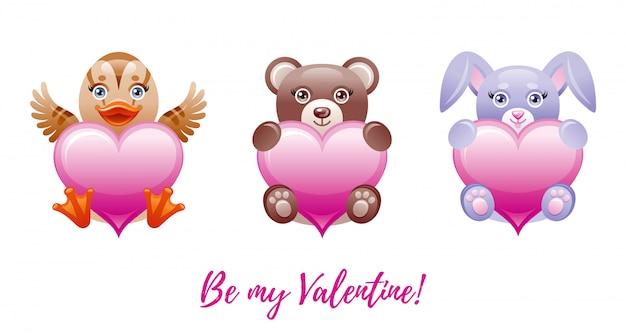 幸せなバレンタインデーのバナー。おもちゃの動物-アヒル、クマ、ウサギとかわいいハートを漫画します。